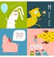 Bright Cartoon Farm Animals Square Greeting Cards vector image vector image