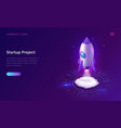 business start up isometric concept with rocket vector image vector image
