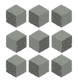 Cartoon Isometric rock stone game brick cubes set vector image