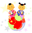 Chinese boy and girl vector image vector image