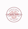 coffe badge or logo template hand drawn coffee vector image vector image