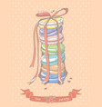 colorful stack macaroons vector image