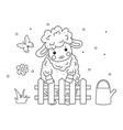 cute outline doodle sheep sleeps hand drawn vector image
