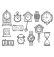 doodle clocks watches timer alarm drawings vector image