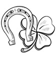 Doodle horseshoes lucky clover vector image