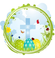 easter border with cross and eggs vector image vector image