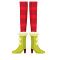 female christmas elf legs in striped stockings vector image vector image