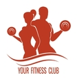Fitness logo with muscled man and woman vector image vector image