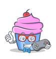 gamer cupcake character cartoon style vector image vector image