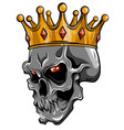 hand drawn king skull wearing crown vector image vector image