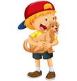 happy boy cartoon character hugging a cute dog vector image vector image