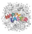 Happy Easter isolated on black and white doodle vector image vector image