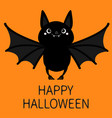 happy halloween bat flying cute cartoon baby vector image