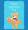 happy valentines day poster teddy bear couple blue vector image vector image