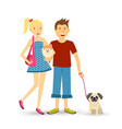 Happy young couple walking with pet dogs vector image vector image