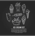 ice cream set with food hand drawn doodles vector image