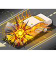 Isometric White Car in Explosion in vector image vector image