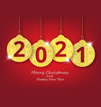merry christmas and happy new year hanging 2021 vector image vector image