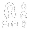 mustache and beard hairstyles outline icons in vector image vector image