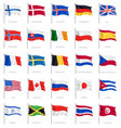 National flags realistic set