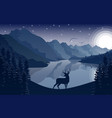 night mountains landscape with deer and stars vector image