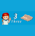 number three tracing guide vector image vector image