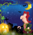 Old witch and jack o lantern vector image vector image