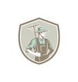 Organic Farmer Rake Shield Woodcut Retro vector image vector image