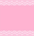 ornament border of hearts in white on pink vector image
