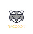 raccoon logo simple icon on white vector image vector image