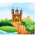 Scene with castle towers on the cliff vector image