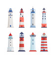 sea lighthouse set a tower with a floodlight on vector image vector image