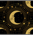 seamless pattern with a golden moon and a crescent vector image vector image