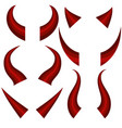 set of different red horns vector image