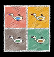 Set of flat shading style icons kids duck