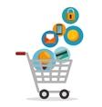 shopping cart online app vector image