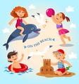 summer child on beach vector image