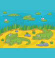 three happy crocodiles vector image