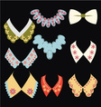 vintage style collars on black background vector image