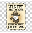 Western ad wanted dead or alive vector image vector image