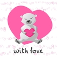 Love printable with cute bear holding heart vector image