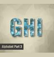 triangular blue alphabet G H I vector image