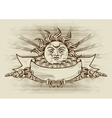 Vintage banner with face of the sun vector image