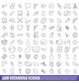 100 vitamins icons set outline style vector image vector image