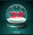 2020 red snow globe on green background merry vector image