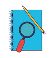 address book and magnifying glass with pencil blue vector image vector image