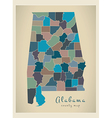 Alabama county map coloured vector image vector image