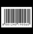 barcode isolated on black background vector image vector image