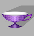 beautiful 3d chinese tea cup in purple design vector image