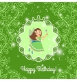 Beautiful cartoon princess on greeen background vector image